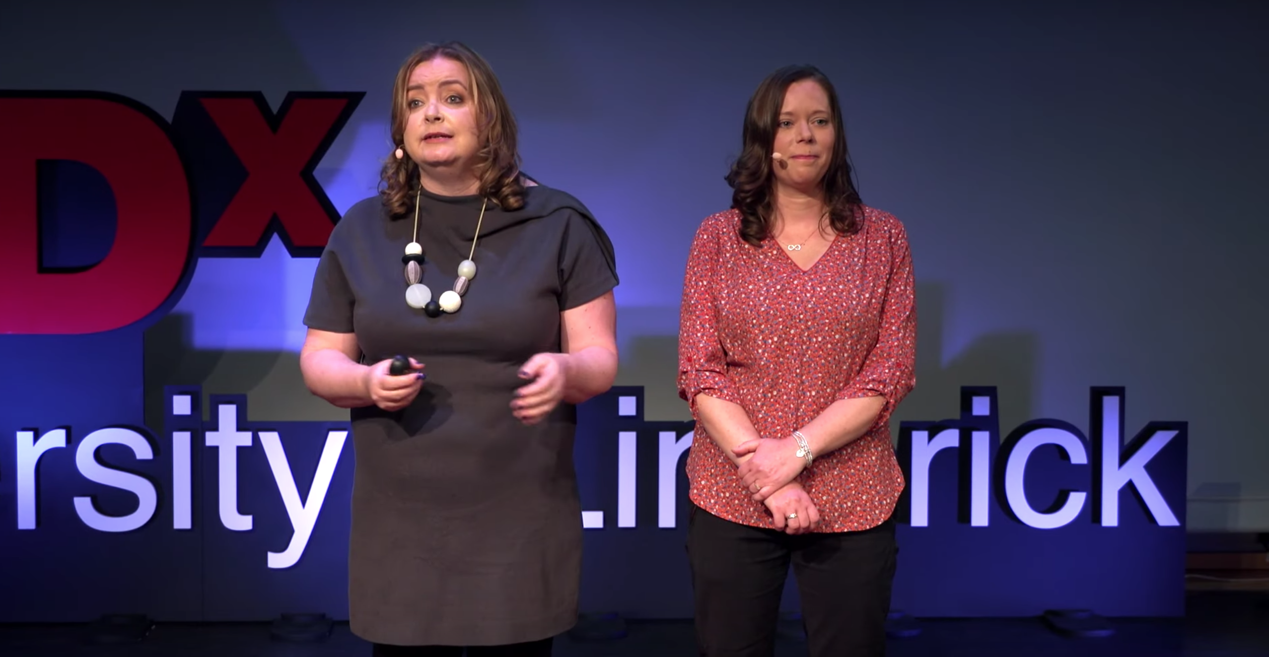 TEDx Limerick - Mairin Murray and Ellen Ward on stage